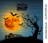 halloween night with pumpkins   ... | Shutterstock .eps vector #114933910
