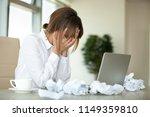 stressed female worker feel...   Shutterstock . vector #1149359810