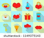 amour icons set. flat set of 12 ... | Shutterstock .eps vector #1149375143