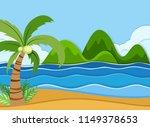 a summer beach landscape... | Shutterstock .eps vector #1149378653