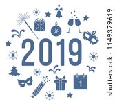 new year symbols. gifts ... | Shutterstock .eps vector #1149379619