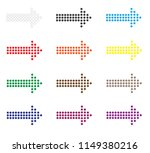 set of dot arrows icon on white ...