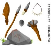 stone weapons for hunting... | Shutterstock . vector #1149380816