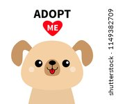 adopt me. cute dog face. red... | Shutterstock .eps vector #1149382709