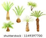 set of hand drawn palm... | Shutterstock . vector #1149397700