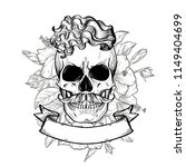 angry skull with hairstyle and... | Shutterstock .eps vector #1149404699