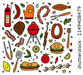 cute doodle set of colored... | Shutterstock .eps vector #1149408479