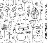 seamless pattern with doodle... | Shutterstock .eps vector #1149427733