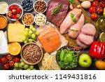 balanced diet food background.  | Shutterstock . vector #1149431816
