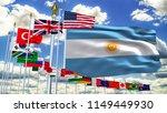 g20 argentina flag silk waving... | Shutterstock . vector #1149449930