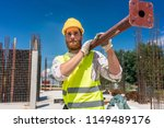 full length of a blue collar... | Shutterstock . vector #1149489176