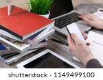 businesswoman hand working with ... | Shutterstock . vector #1149499100