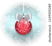 red christmas ball with bow on...   Shutterstock .eps vector #1149505289