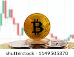 bitcoin btc on stack of... | Shutterstock . vector #1149505370