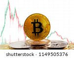 bitcoin btc on stack of... | Shutterstock . vector #1149505376
