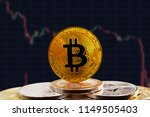 bitcoin btc on stack of... | Shutterstock . vector #1149505403