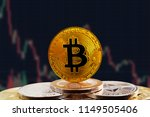 bitcoin btc on stack of... | Shutterstock . vector #1149505406