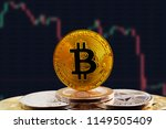 bitcoin btc on stack of... | Shutterstock . vector #1149505409