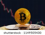 bitcoin btc on stack of... | Shutterstock . vector #1149505430