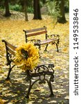 wreath from autumn maple leaves ...   Shutterstock . vector #1149533846