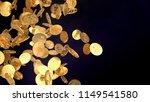 golden cash bitcoin on black...   Shutterstock . vector #1149541580