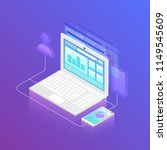 isometric smartphone connecting ... | Shutterstock .eps vector #1149545609