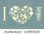 kitchen silhouette set  vector... | Shutterstock .eps vector #114955330