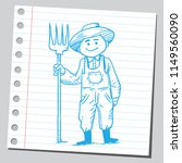 farmer holding pitch fork | Shutterstock .eps vector #1149560090