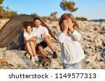 pretty girl wearing in shirt...   Shutterstock . vector #1149577313