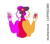 male and female give likes to... | Shutterstock .eps vector #1149582380