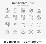 thin line icons set of weather. ... | Shutterstock .eps vector #1149589949