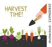 harvest time bright banner. man ...   Shutterstock .eps vector #1149600833