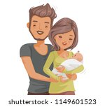 newborn parents holding baby.... | Shutterstock .eps vector #1149601523