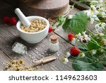 mortar of dried daisies herbs ... | Shutterstock . vector #1149623603
