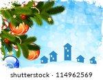 vector abstract christmas card... | Shutterstock .eps vector #114962569