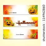 halloween banners with spooky... | Shutterstock .eps vector #114962860