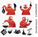 cartoon sushi chief  vector... | Shutterstock .eps vector #114964969