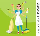 many armed cleaner female... | Shutterstock .eps vector #1149650756