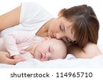 young mother and her baby... | Shutterstock . vector #114965710