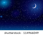 space scene with stars and moon ... | Shutterstock .eps vector #114966049