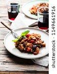 traditional sicilan eggplant...   Shutterstock . vector #1149661916