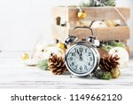 christmas card with clock and...   Shutterstock . vector #1149662120