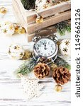 christmas card with clock and...   Shutterstock . vector #1149662126