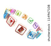 App market: round copyspace frame emblem made of symbolic mobile application colorful plastic icons circled isolated on white background - stock photo