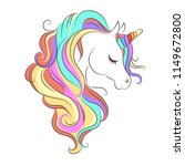 cute white unicorn with rainbow ... | Shutterstock .eps vector #1149672800