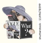 funny pug dog reading magazine... | Shutterstock .eps vector #1149678599