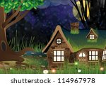 lonely house with lighted...   Shutterstock .eps vector #114967978