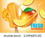 fresh ice popsicles mango fruit ... | Shutterstock .eps vector #1149685130