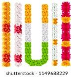 set indian flower garland mala. ... | Shutterstock .eps vector #1149688229