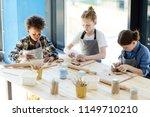 three children in aprons...   Shutterstock . vector #1149710210